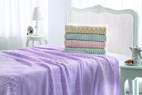 Покрывало вязаное 2-спальное Tivolyo home LUNA 230х250 см фиолетовое