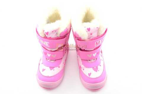 Зимние сапоги Минни Маус (Minnie Mouse) на липучках с мембраной для девочек, цвет розовый. Изображение 10 из 13.