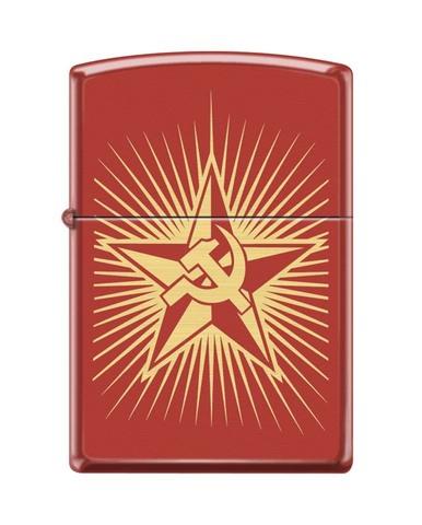 Зажигалка ZIPPO Classic Red Matte™ с  изображением Серпа и Молота ZP-233 RUSSIAN HAMMER SICKLE