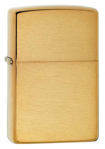 Зажигалка Zippo с покрытием Brushed Brass, медь/сталь, золотистая, матовая, 36x12x56 мм