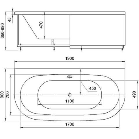 Ванна акриловая Aquatek Морфей 190х90см. на каркасе и сливом-переливом.  схема