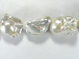 Бусина из жемчуга пресноводного культивированного белого, класс А, фигурная, 21x15 - 29x18 мм (капля, гладкая)