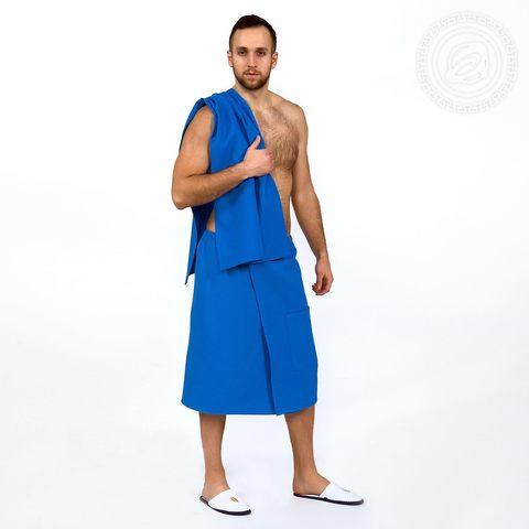 Набор для бани и сауны мужской синий вафельное полотно