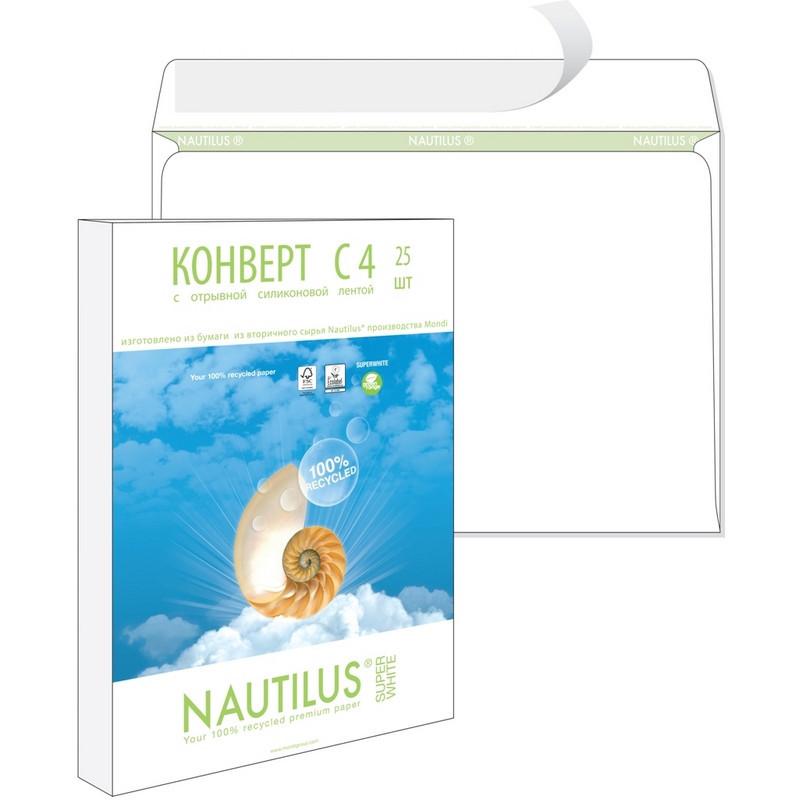 Конверт Nautilus Bong C4 90 г/кв.м белый стрип с внутренней запечаткой (25 штук в упаковке)