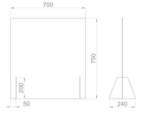 Настольный экран Ш.700мм, В.600/750мм