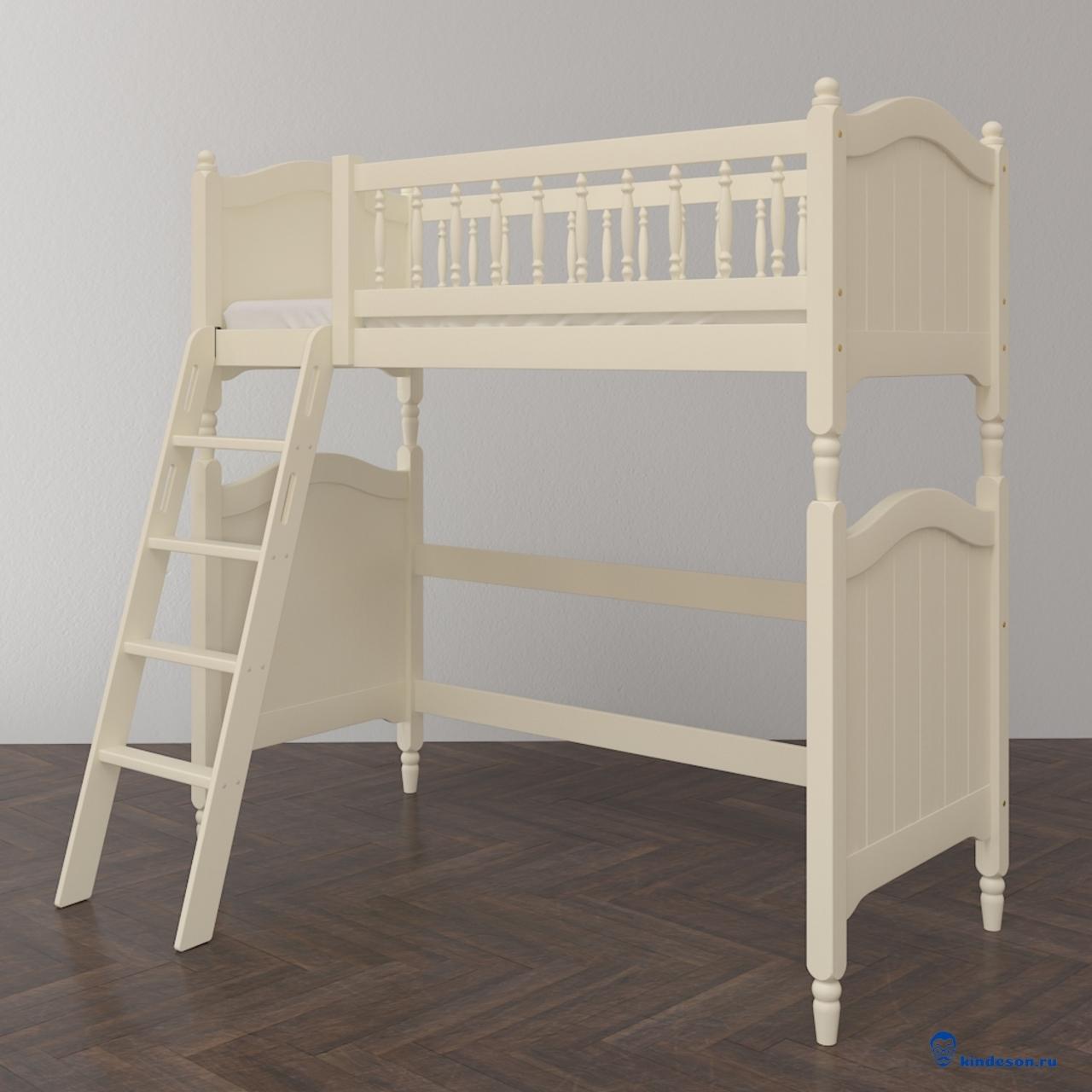 Высокая кровать-чердак в классическом стиле для подростка.