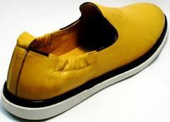 Летние мужские туфли из натуральной кожи King West 053-1022 Yellow-White.