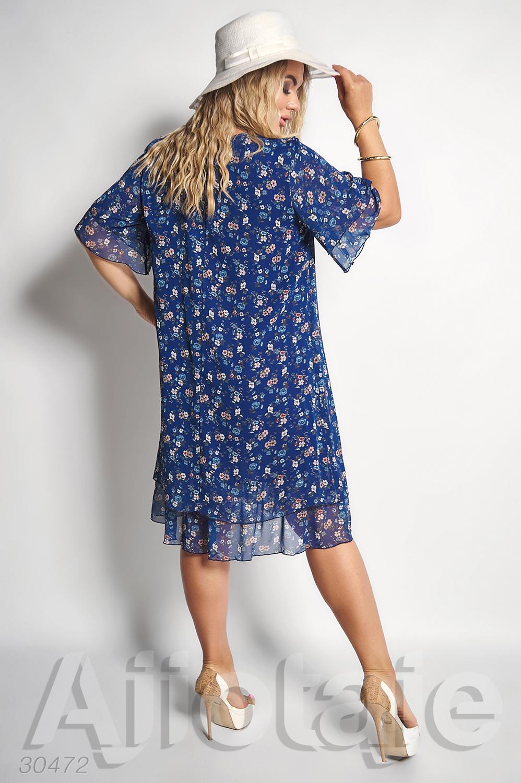 Шифоновое платье миди синего цвета