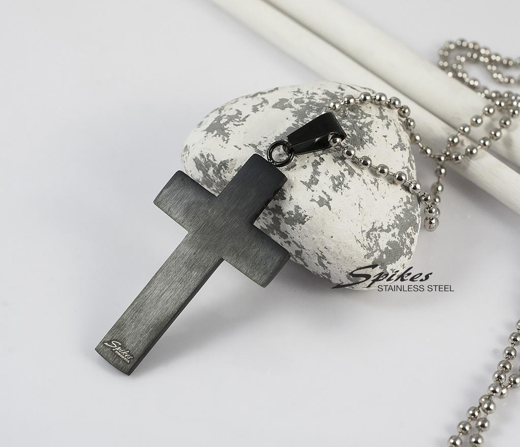 SSPM-6500 Мужская подвеска крест черного цвета из стали «Spikes» фото 04