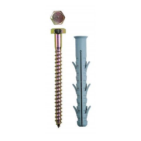 Дюбель рамный нейлоновый, в комплекте с оцинкованным шурупом, шестигранная головка, 10 x 80 мм, 50 шт, ЗУБР Профессионал