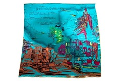Итальянский платок из шелка голубой с рисунком 5453