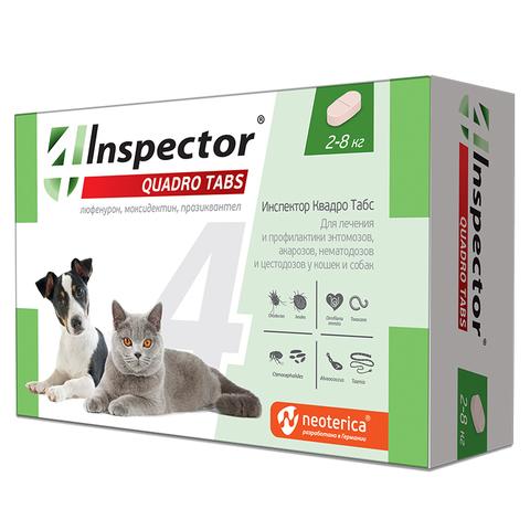 Инспектор Quadro Табс для кошек и собак 2-8 кг 4 таб.