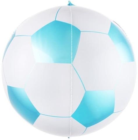 Шар-сфера 3D Футбольный мяч, голубой белый, 58 см