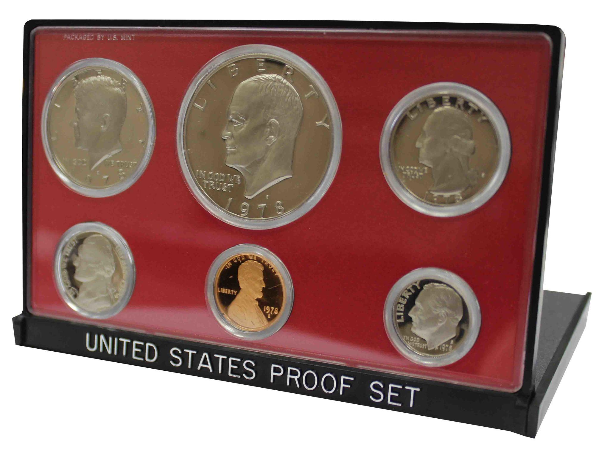 Годовой набор монет США 1978 (S) год в футляре (1, 5, 10, 25, 50 центов; 1 доллар) (6 монет)