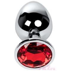 Анальная металлическая пробка с красным кристаллом