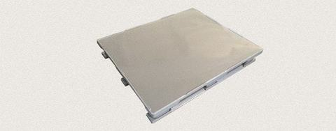 Поддон полимерный сплошной 1200x1000x160 мм с полозьями, усиленный металлическим профилем. Цвет: Серый