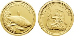 Золотая монета 2008 года выпуска, Палау 1 доллар, Серая акула, AU-999, 1,24 гр. диам. 13,92 мм, тир. 25000, пруф. 100% гарантия подлинности.