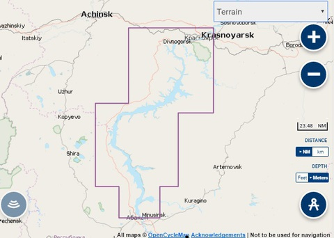 Карта: Красноярское водохранилище. Navionics+ Small 5G764S