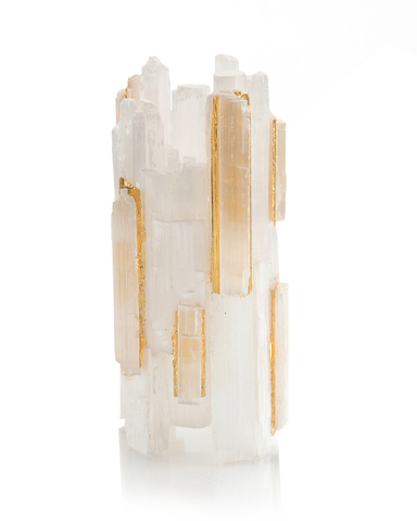 Selenite Votive Holder Inlaid with Gold II