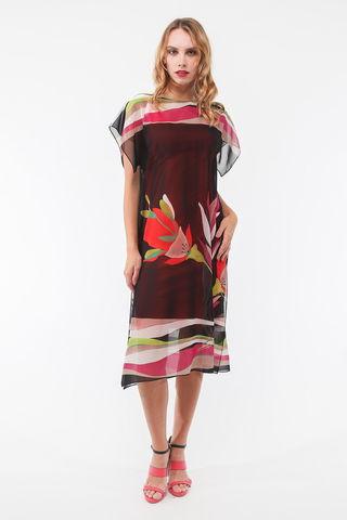 Фото черное платье с цветочным принтом двухслойное - Платье З443-524 (1)