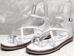 Женские кожаные сандалии босоножки на ремешках Evromoda 454-402 White.