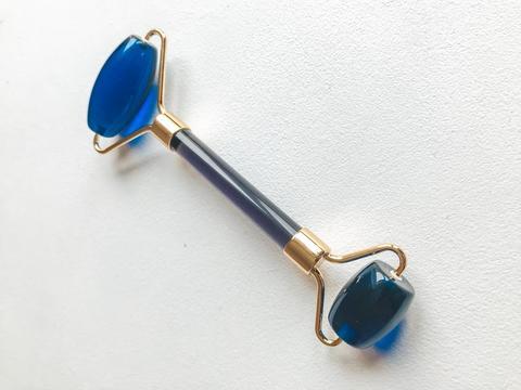 Нефритовый массажер для лица двусторонний, синий агат