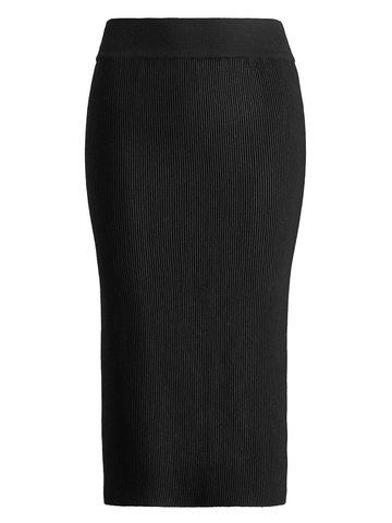 Женская юбка черного цвета из шерсти - фото 1