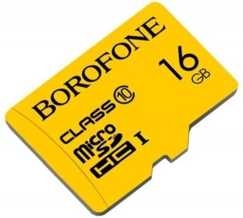 Yaddaş kartı \ Карта памяти \ Flash Card microSDHC BOROFONE I, 16GB, желтый