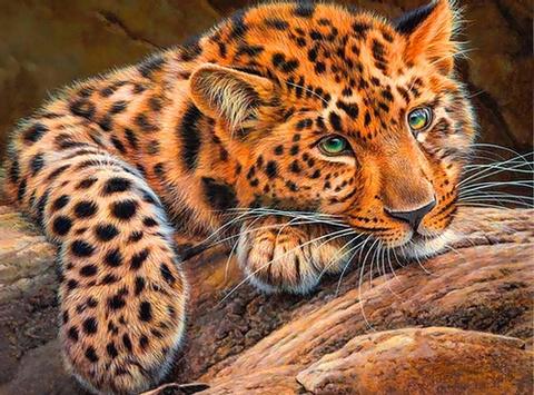 Алмазная Мозаика 30x40 Леопард на камне (Арт. SEG71044 )
