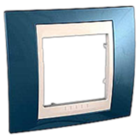Рамка на 1 пост. Цвет Голубой лёд/бежевый. Schneider electric Unica Хамелеон. MGU6.002.554