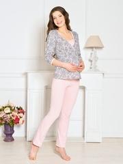 Vivamama. Пижама для беременных и кормящих Lilu, персик вид 2