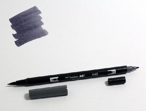 Маркер-кисть Tombow ABT Dual Brush Pen-N45, холодный серый 10