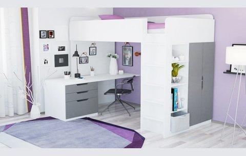 Кровать-чердак Polini kids Simple с письменным столом и шкафом, белый-серый