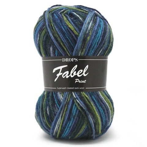 Пряжа Drops Fabel 677 темно-синий - зеленый