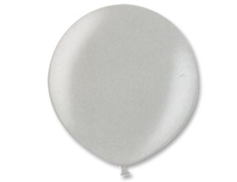 Большой воздушный шар металлик серебряный