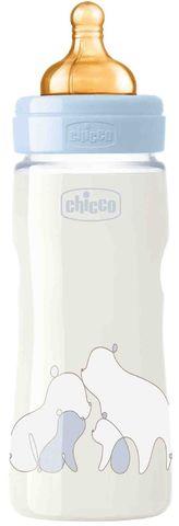 Chicco. Бутылочка Original Touch латексная соска, регулируемый поток, 4+, 330 мл, голубая