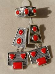 Герта (кольцо + серьги из серебра)