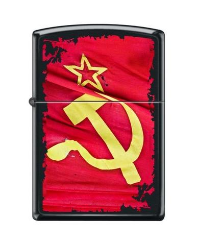 Зажигалка ZIPPO Classic Black Matte™ Полноцветное изображение Знамени Победы  ZP-218 SOVIET FLAG SICKLE