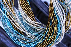 Бисерное ожерелье из 48 нитей янтарно-зеленое