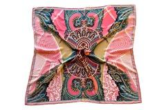 Итальянский платок из шелка розовый с орнаментом 5504