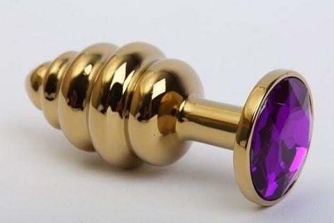 Золотистая ребристая анальная пробка с фиолетовым стразом - 7,3 см.