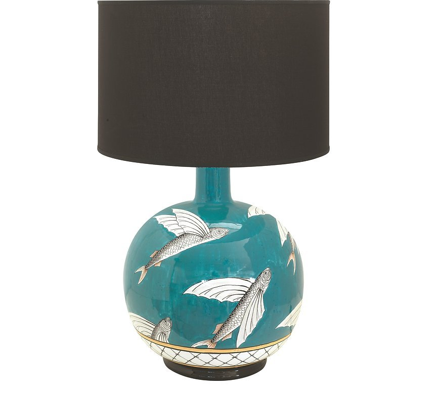 Ceramic lamp with black shade Flying Fish collection