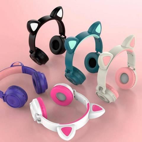 Беспроводные bluetooth наушники со светящимися кошачьми ушами Cat Ear Pink розовые