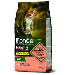 Monge Cat BWild Grain Free Сухой беззерновой корм для взрослых кошек из лосося