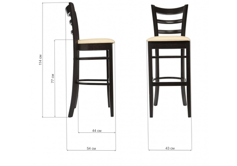 Барный стул Mirakl cappuccino / cream 43*43*114 Венге /Кремовый кожзам