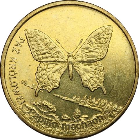 2 злотых Бабочка Махаон (животный мир) 2001 год, Польша