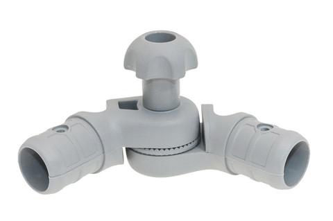 Наклонно-соединительный узел для труб правый Tr257, Ø 22/29 мм, серый