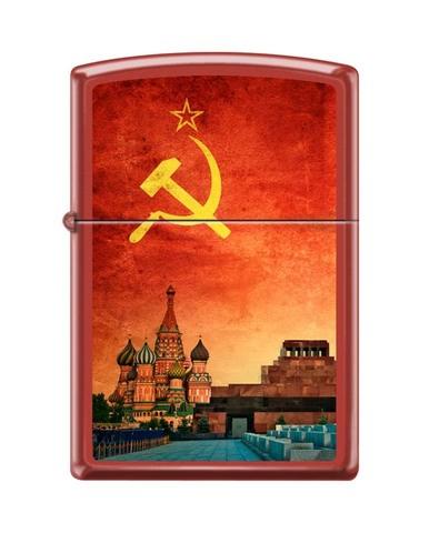 Зажигалка ZIPPO Classic Red Matte Chrome™ Полноцветное изображение панорамы Москвы ZP-233 SOVIET DESIGN