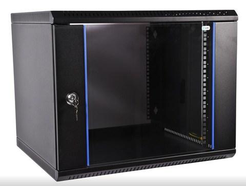 Шкаф ЦМО ШРН-Э-15.350-9005 телекоммуникационный настенный разборный 15U (600 × 350) дверь стекло, цвет черный