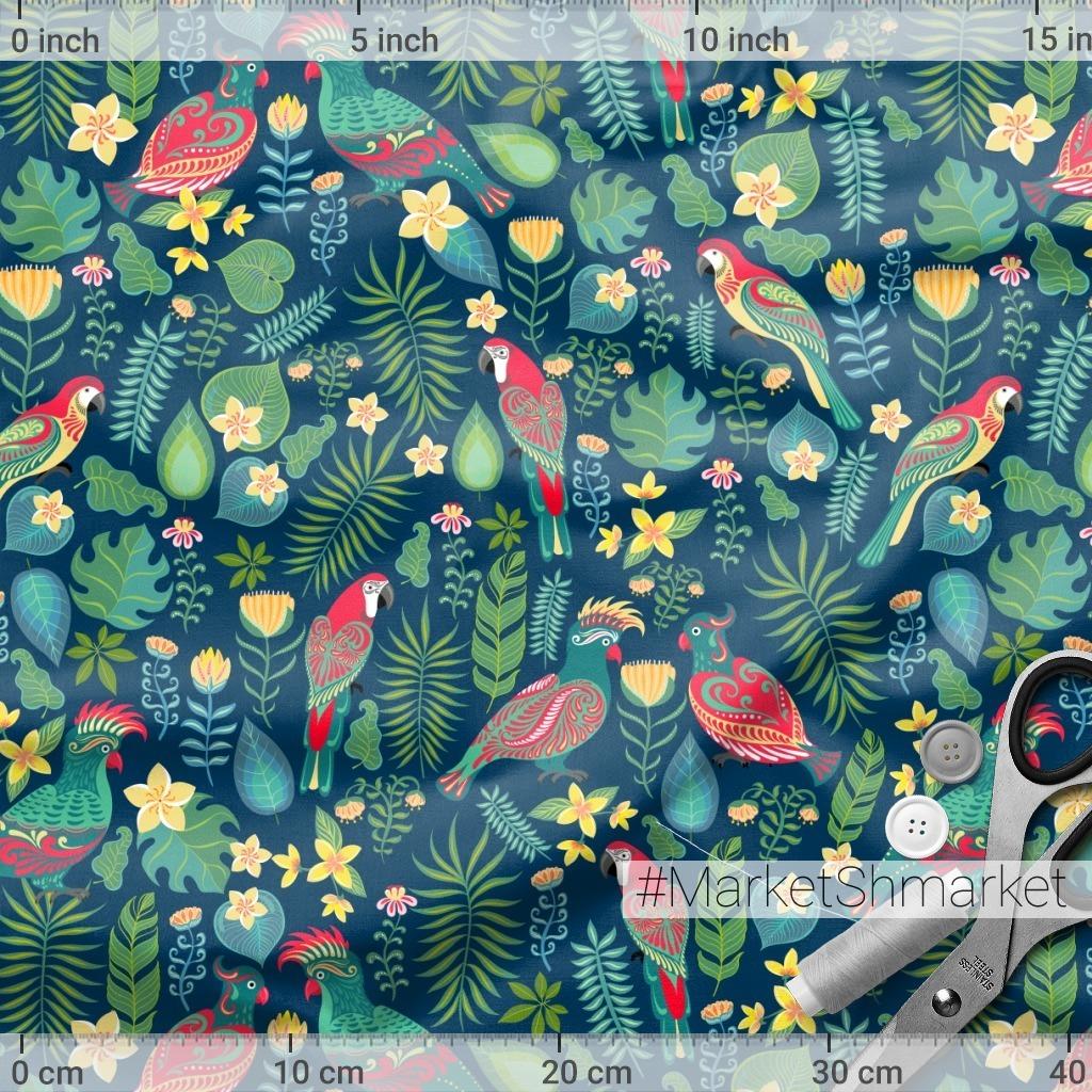 Попугаи, цветы на синем фоне. TROPICANA. (Дизайнер Irina Skaska)
